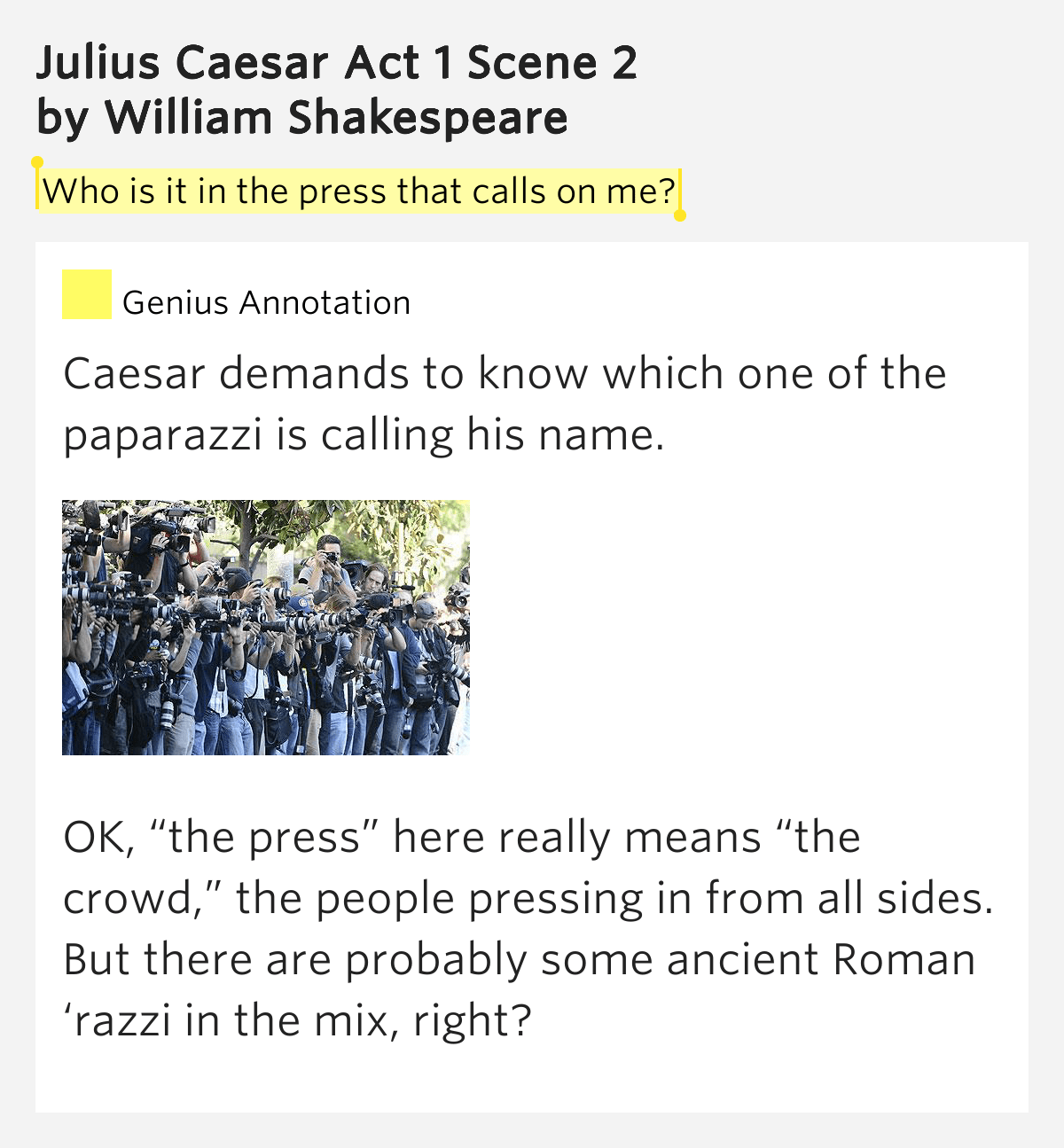 Who Is It In The Press That Calls Julius Caesar Act 1 Scene 2