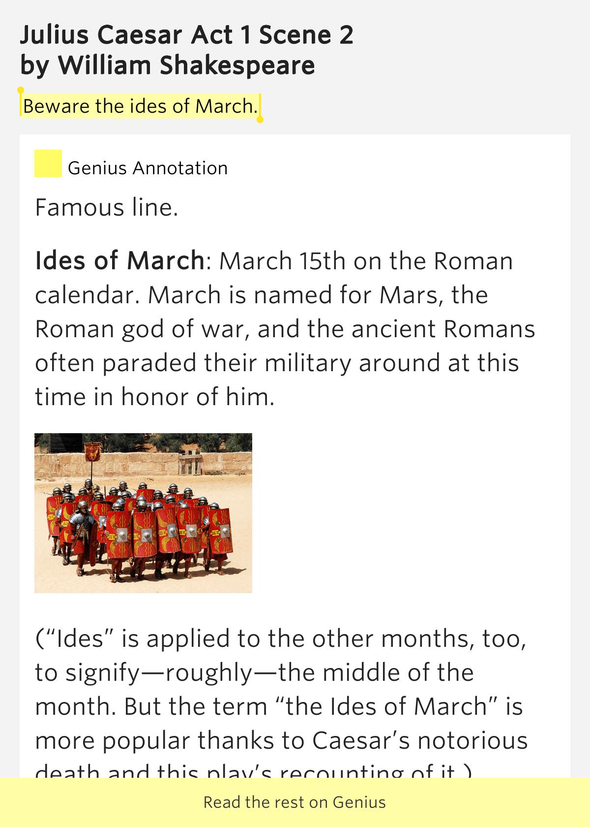 Beware The Ides Of March Julius Caesar Act 1 Scene 2