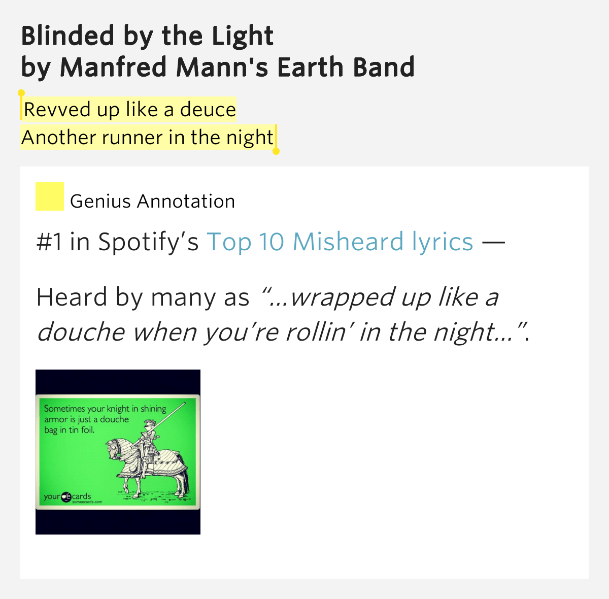 Blinded Light Meaning