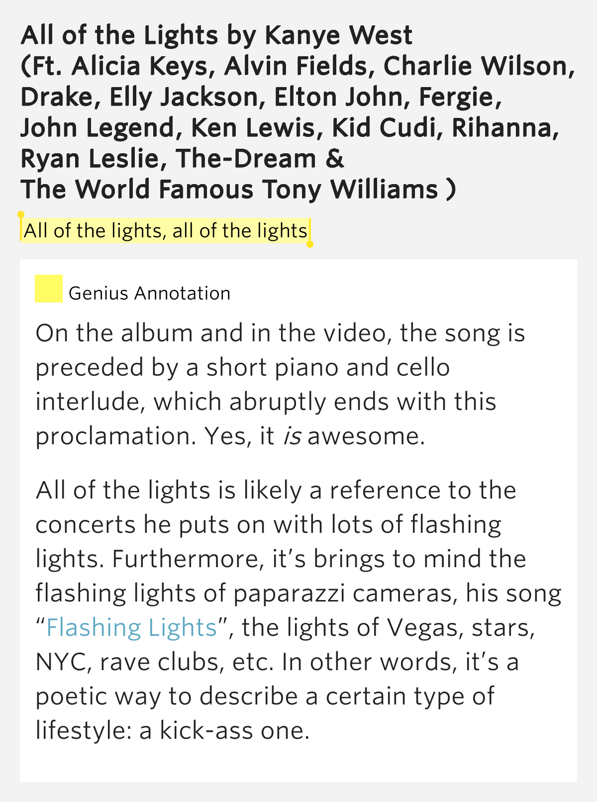 Kanye West Flashing Lights Lyrics