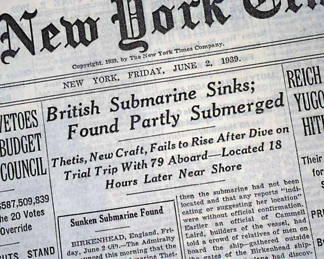 Image result for thetis submarine 2 June 1939