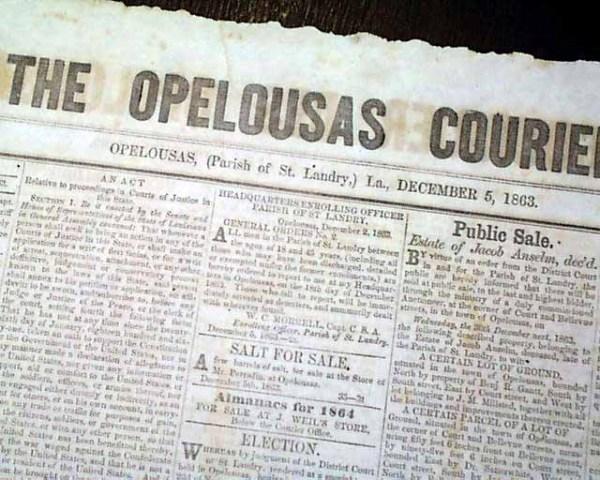Rare OPELOUSAS St. Landry Parish Louisiana Civil War ...