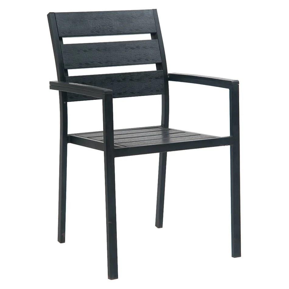 black metal restaurant patio arm chair