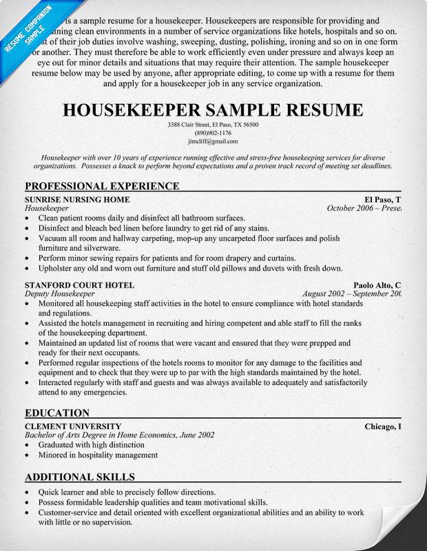 housekeeping experience resume resume sample