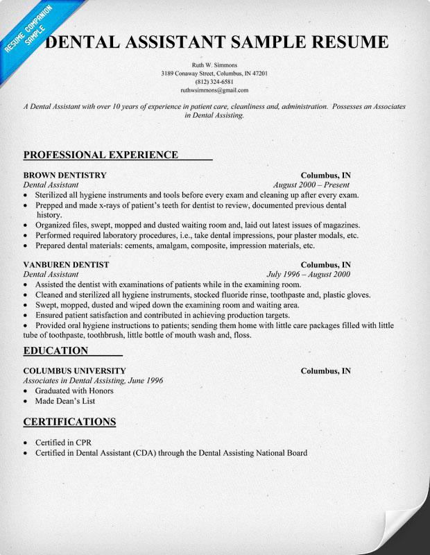 Dental Assistant Objective Resume | E-Resume