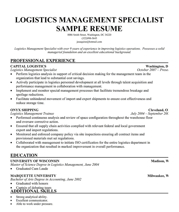 logistics specialist resume sample