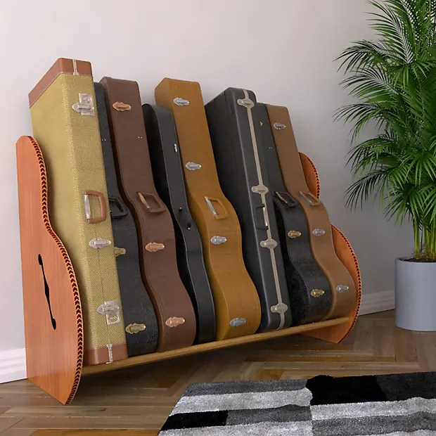 the studio deluxe multi guitar case rack mahogany red oak holds 7 9