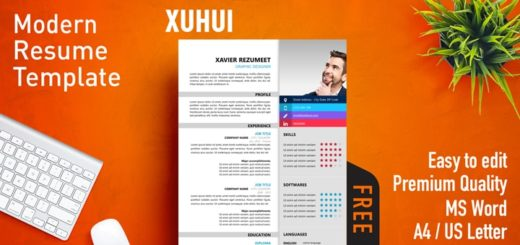 Free Effective Resume Templates for MS Word   Rezumeet Xuhui     Modern Resume Template