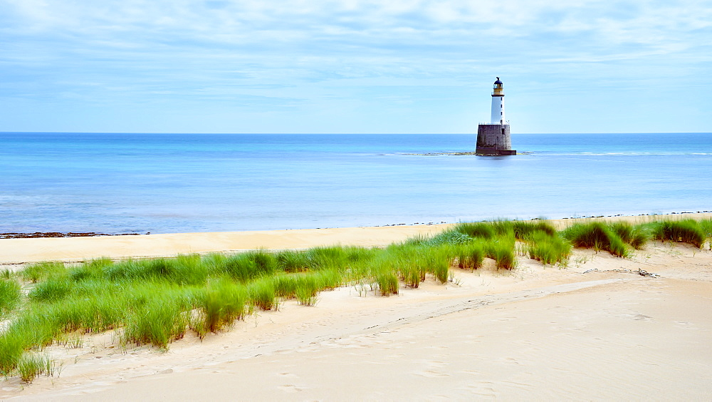 Rattray Lighthouse on the beach in Aberdeenshire