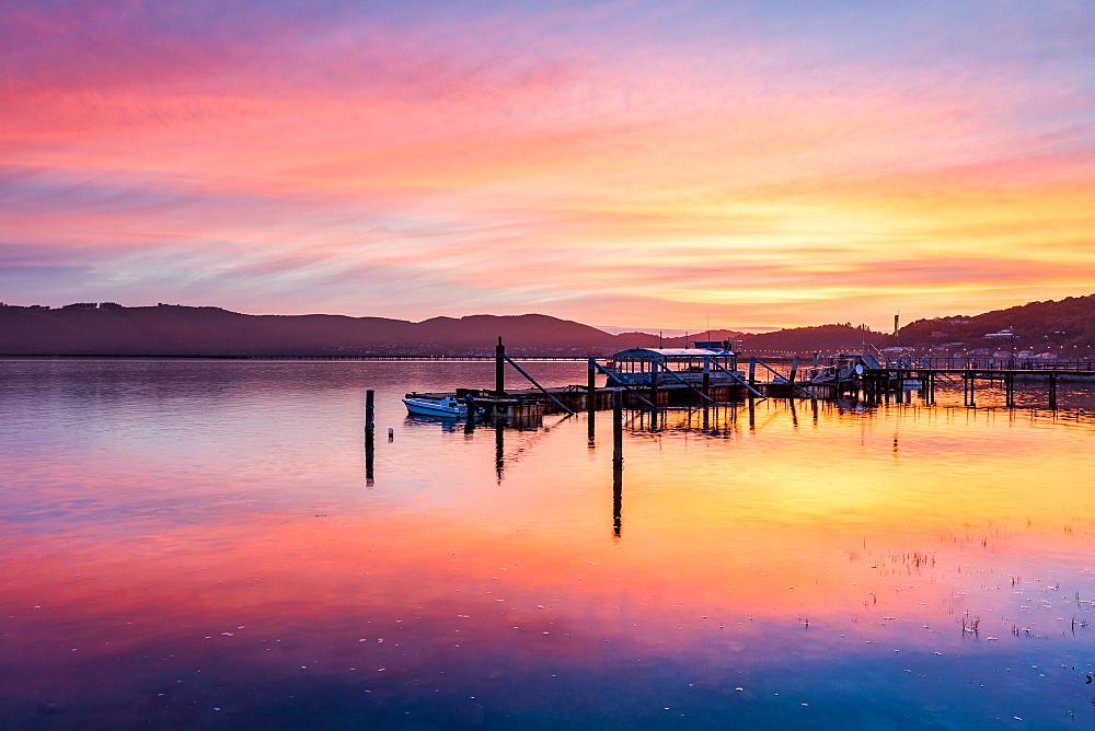 Stock photo of a Sunset over Knysna Lagoon, Garden Route
