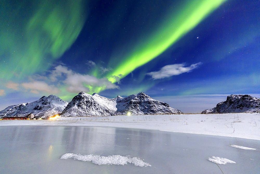 Stock Landscape photo: Aurora Borealis over mountains Norway