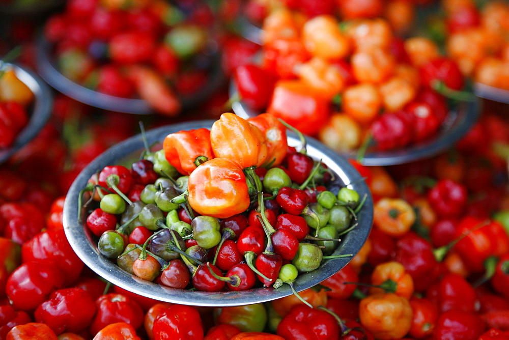 Red peppers at the Sao Joaquim market, Brazil