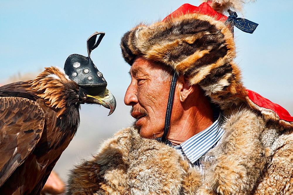 Stock photo of a Mongolian Golden Eagle Hunter