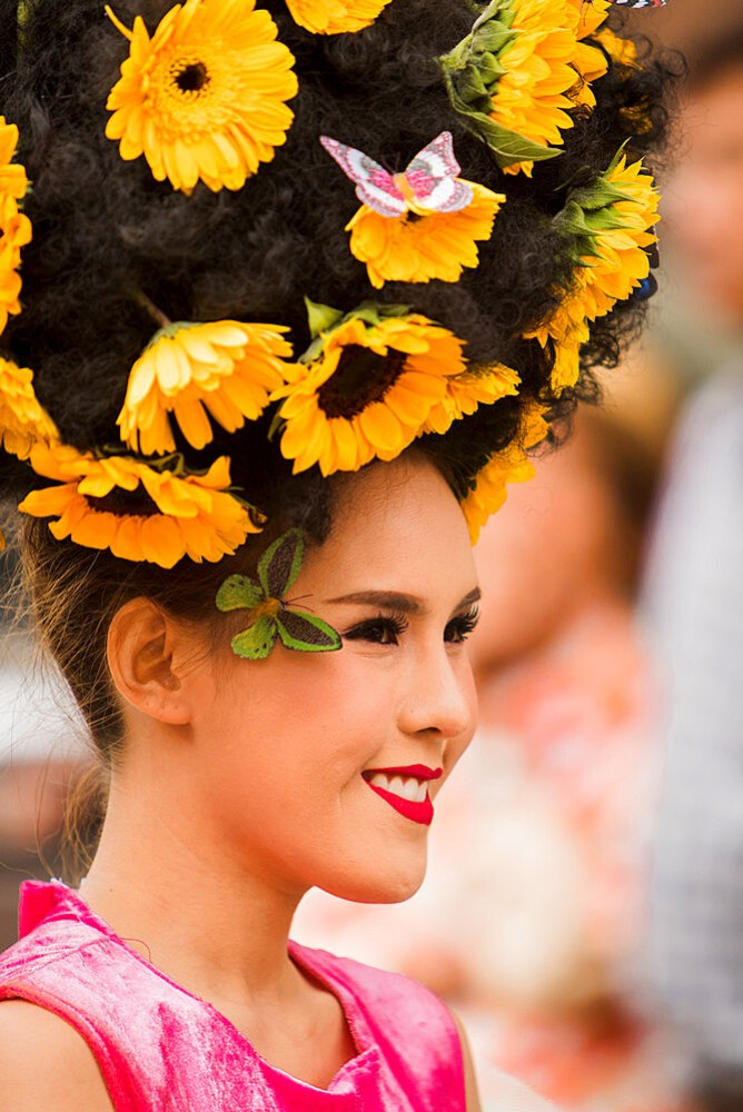 Floral hair decorations at Chiang Mai flower festival