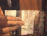 Il dettaglio della mano con lo spartito (Jpeg)