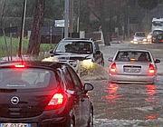Strade allagate per il maltempo in tutta la zona