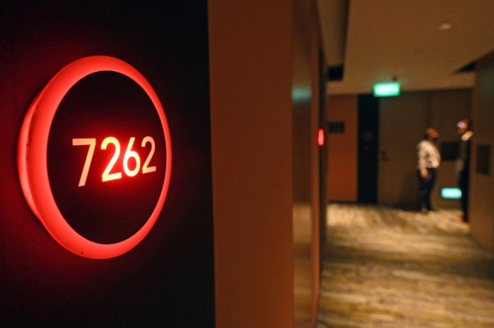 A room number at the Connect @ Changi hotel in Singapore.