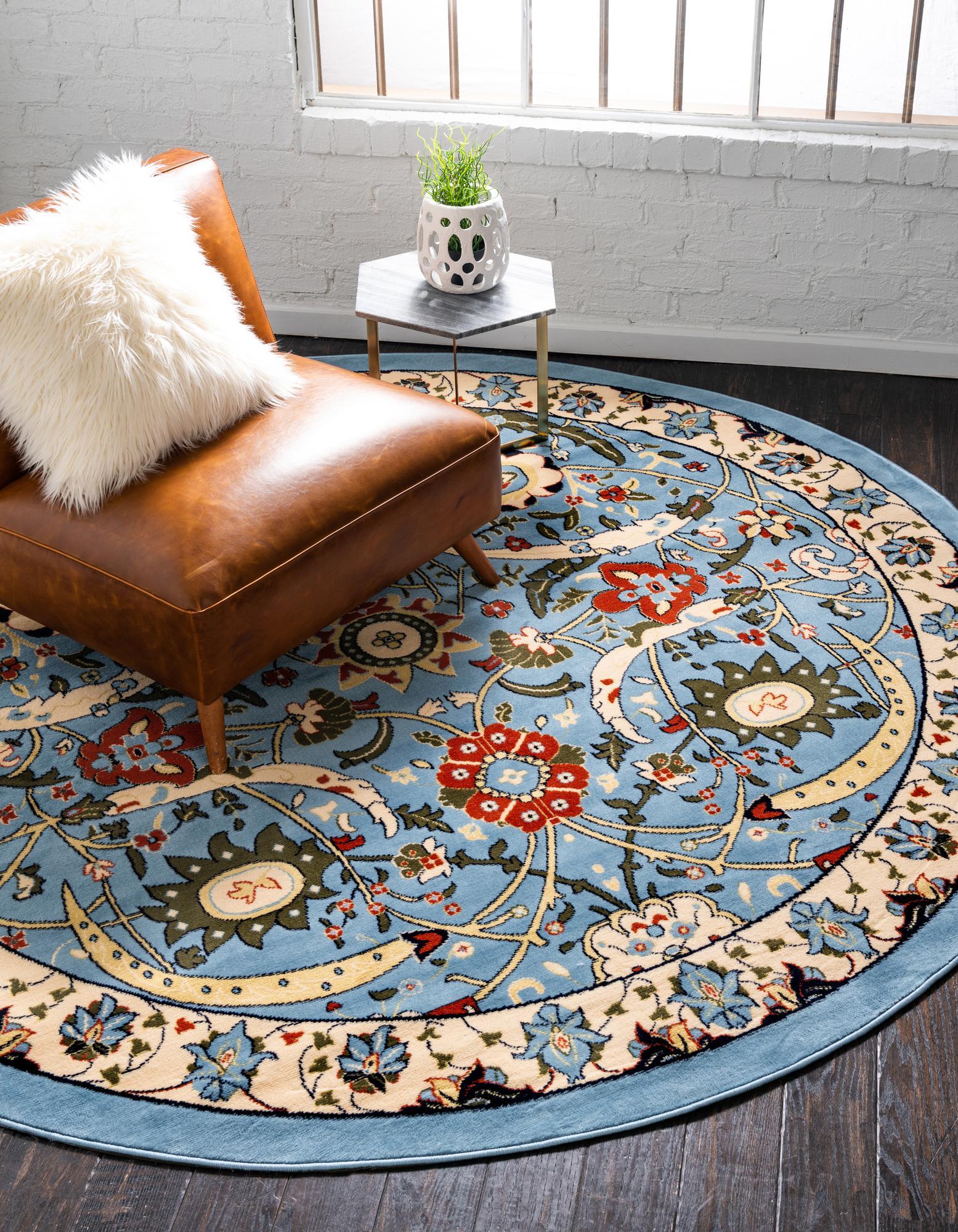 8 x 8 isfahan design round rug