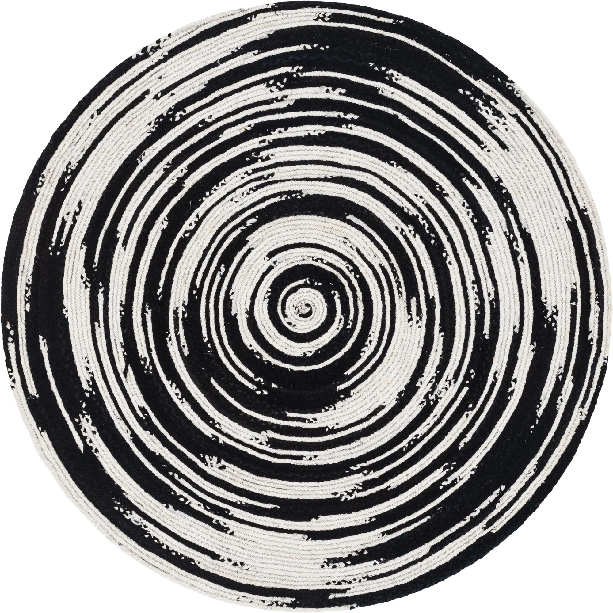 Black And White 8 X 8 Braided Chindi Round Rug Unique Loom