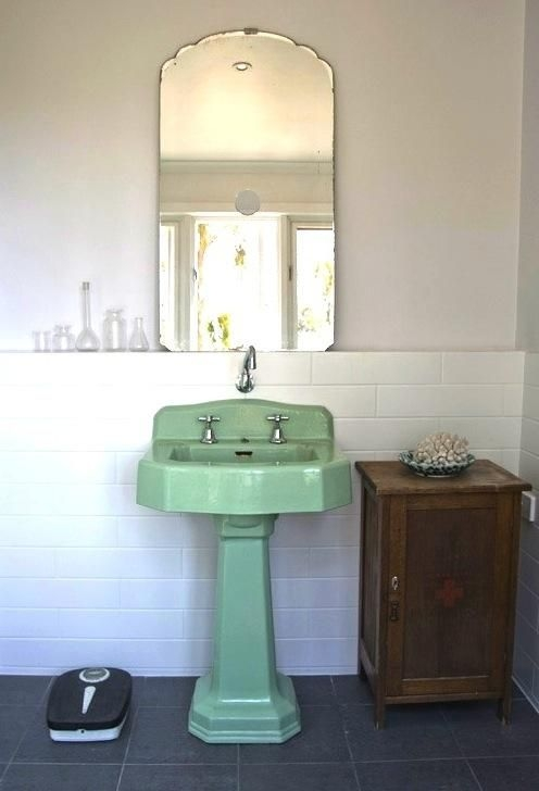 minty fresh vintage pedestal basin