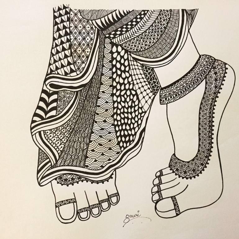 Krishna S Feet Drawing By Gauri Arora Saatchi Art