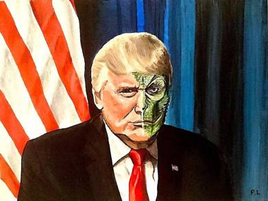 Reptilian Trump Painting by Patrick Lee | Saatchi Art