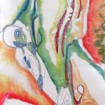 Improvisation I Painting And Stitching On Cotton Fabric Wall Hanging Painting By Anna Bonarou Saatchi Art