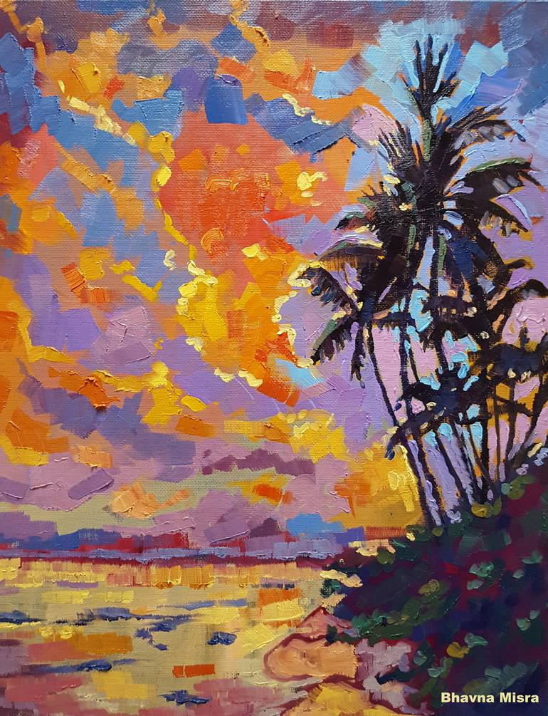 February Sunset Colorful Nature Painting By Artist Bhavna Misra Painting By Bhavna Misra Saatchi Art
