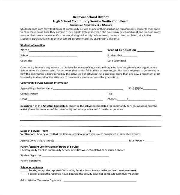 12 Sample Community Service Forms Sample Forms