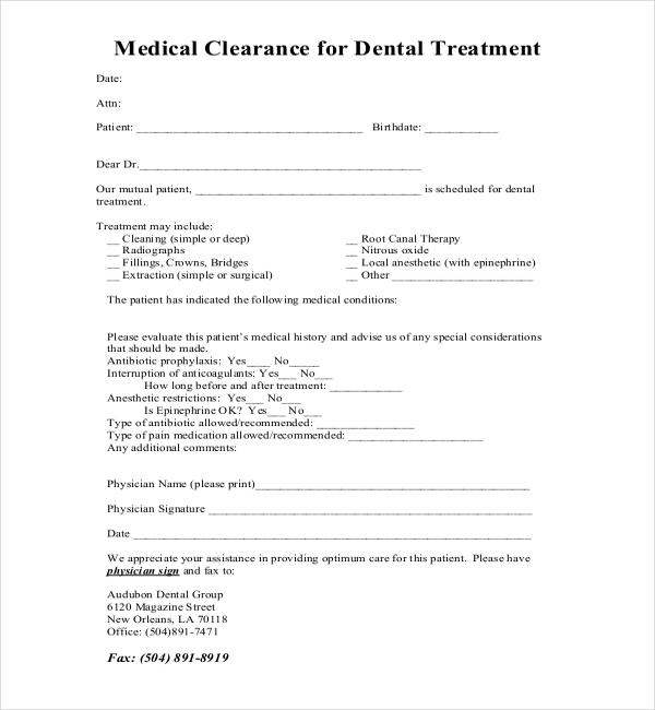 Dental clearance form free download altavistaventures Choice Image