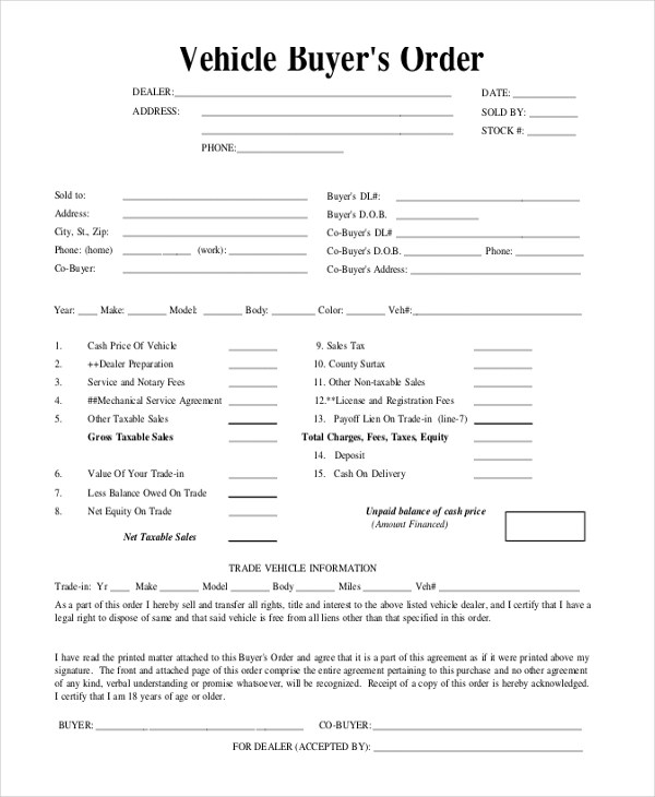 vehicle buyers order Vehicle Buyers Order Template