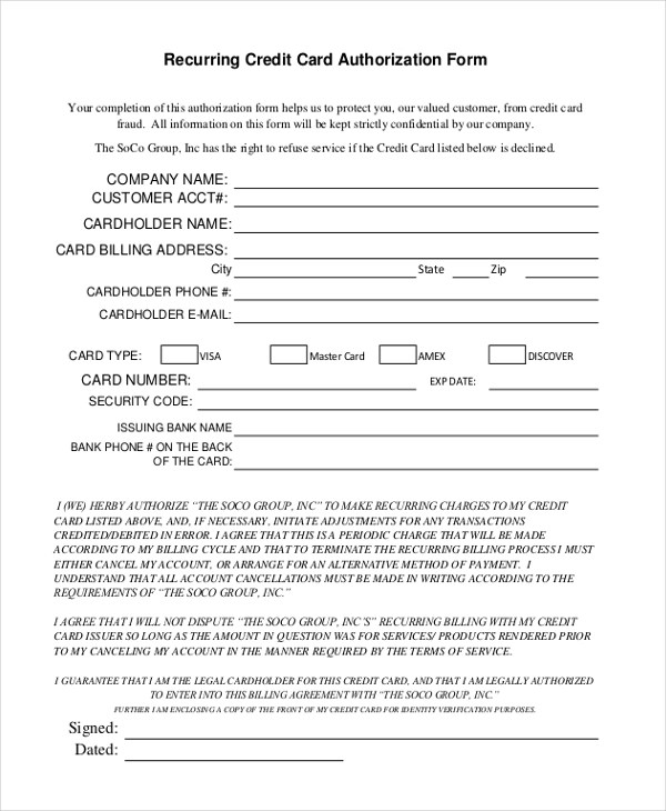 credit card billing authorization form template