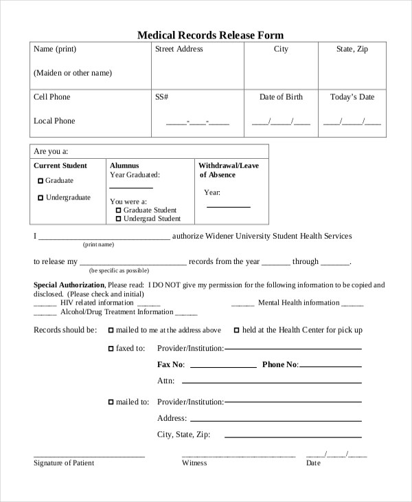 generic request for medical records form