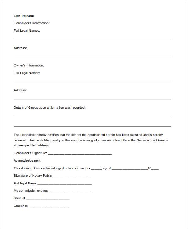 Sample Lien Release Form. Fraudulent Lien Waiver Release Forms ...
