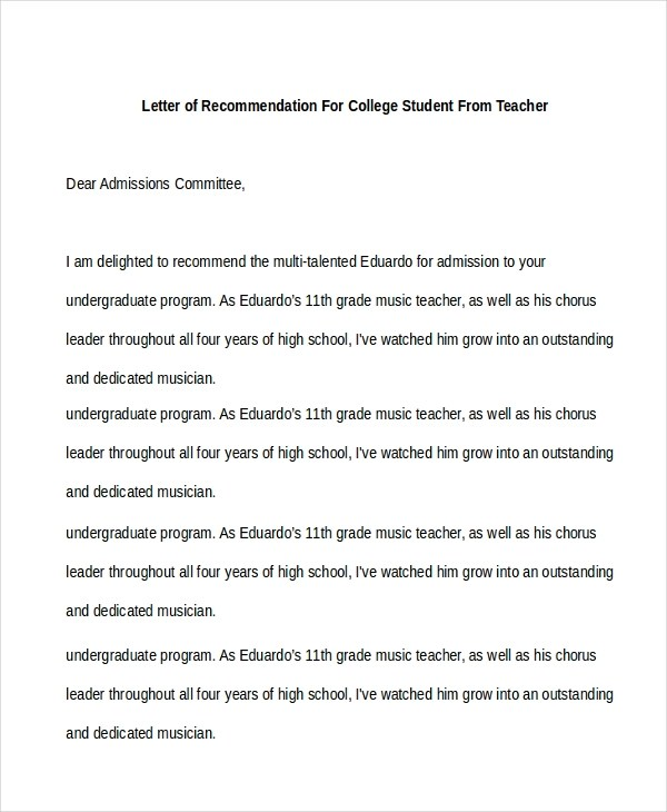 Sample Recommendation Letter For Student Free Doents In Pdf Doc