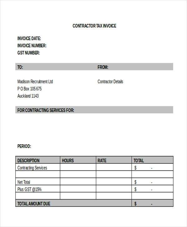 Sample Contractor Invoice Form - 8+ Free Documents in word ...
