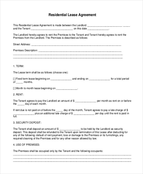 Free 9 Printable Lease Agreement Form Samples In Pdf Doc