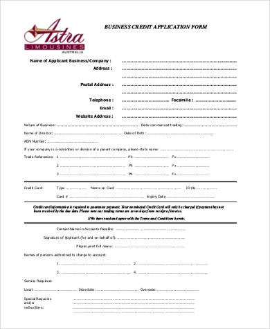 The information that you provide in this form will help a financing institution determine whether you're reliable enough to pay back your debts. Free 8 Sample Business Credit Application Forms In Pdf Ms Word