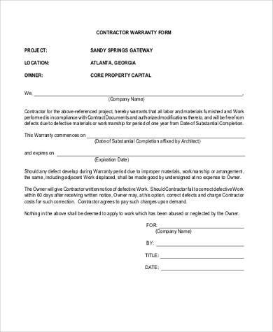 FREE 7+ Sample Contractor Warranty Forms in PDF | MS Word