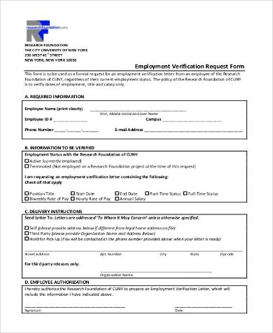 Employment Request Form | Employment Verification Request Form Template Free Download