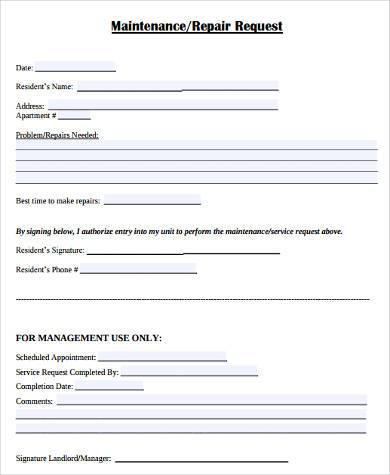 Sample Maintenance Request Forms In Pdf