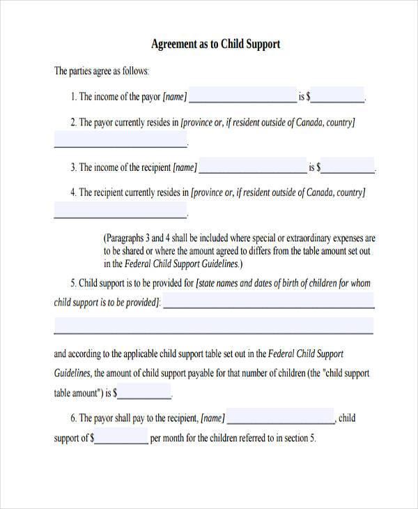 Sample Letter Voluntary Child Support Agreement Docoments Ojazlink Custody  Agreement Examples