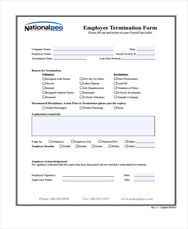 Employee Separation Form  Free Download