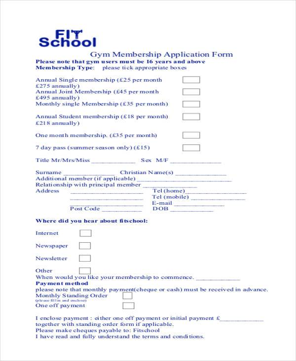 Gym admission form sample zenfitt 7 membership application form samples free sample example thecheapjerseys Image collections