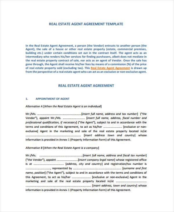 7 Exclusive Agency Agreement Form Samples Word PDF Pages