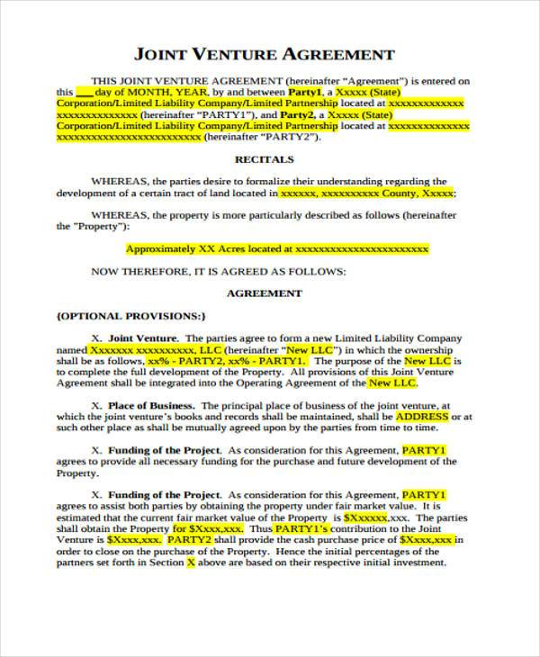 The agreement may establish a business purpose, governance structure. Free 7 Joint Venture Agreement Forms In Pdf Ms Word