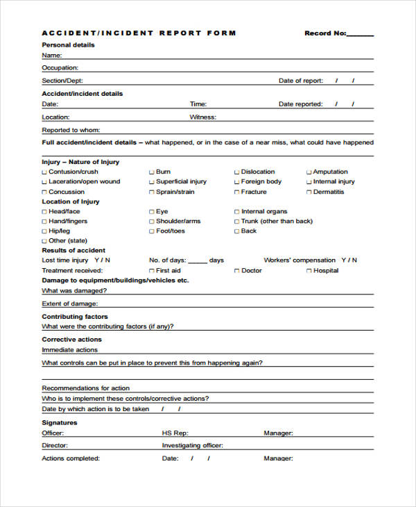 With this template, you can summarize the entire incident with important measurement and recording metrics and more! Free 42 Incident Report Forms In Pdf Ms Word Excel