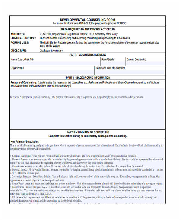 Army negative counseling examples for Initial counseling template
