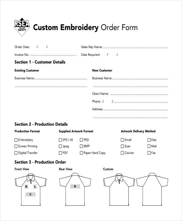 Custom Embroidery Order Form