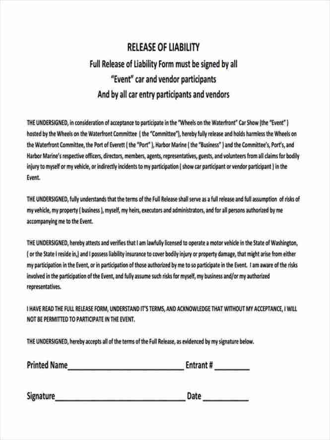 Property Damage Release Form. Sample Ps Form Third Party Liability ...